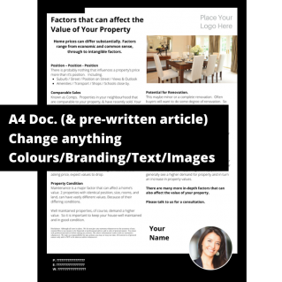 Factors that can affect the Value of Your Property  – PDF/Print Template & Copy & Paste Article