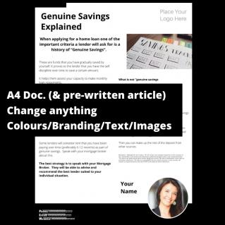 Genuine Savings Explained  – A4 Template