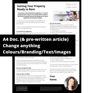 Getting Your Property Ready to Rent – A4 Template