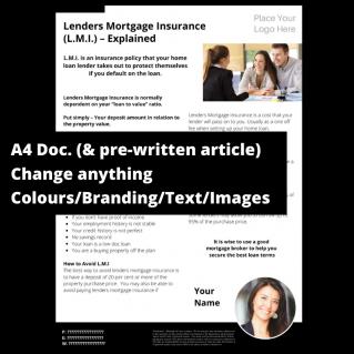 Lenders Mortgage Insurance (L.M.I.) Explained  – A4 Template