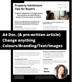 Property Settlement Tips for Buyers  – A4 Template