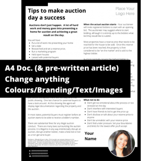 Tips to make auction day a success  – A4 Template