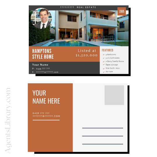 """For Sale / Sold / For Rent  """"Postcard"""" Template #1"""