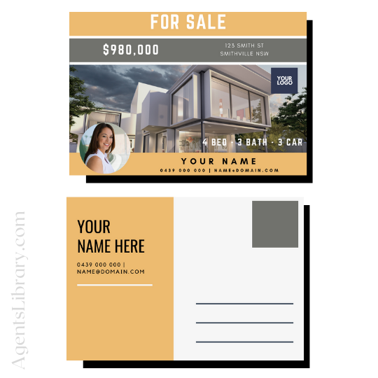 """For Sale / Sold / For Rent  """"Postcard"""" Template #10"""