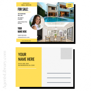 """For Sale / Sold / For Rent  """"Postcard"""" Template #11"""