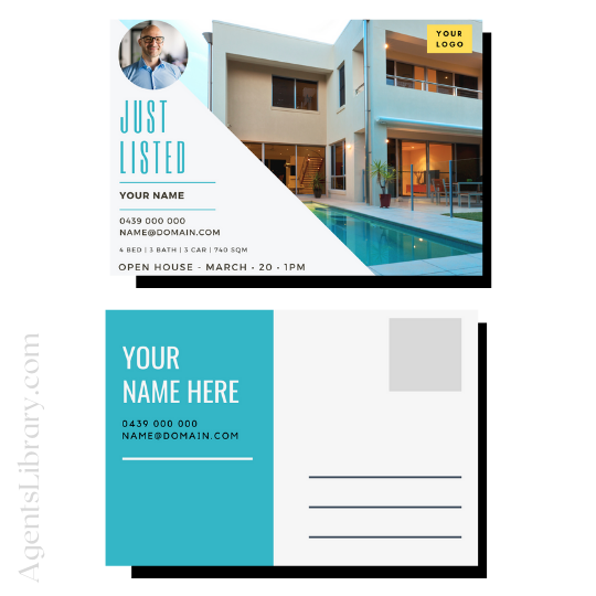 """For Sale / Sold / For Rent  """"Postcard"""" Template #12"""