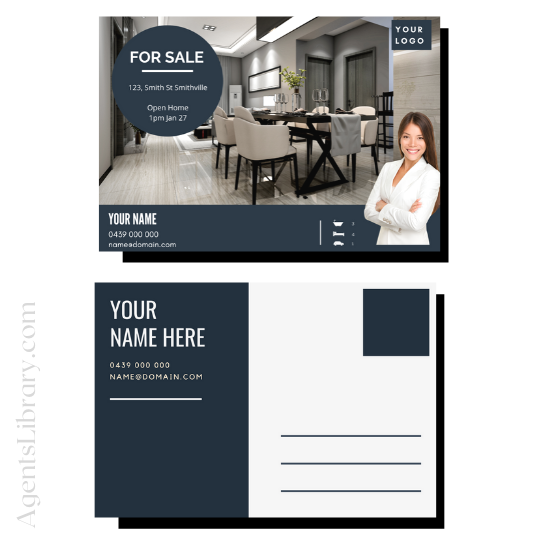 """For Sale / Sold / For Rent  """"Postcard"""" Template #13"""