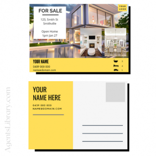 """For Sale / Sold / For Rent  """"Postcard"""" Template #15"""