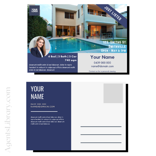 """For Sale / Sold / For Rent  """"Postcard"""" Template #17"""