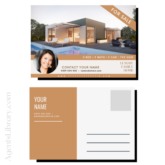 """For Sale / Sold / For Rent  """"Postcard"""" Template #18"""