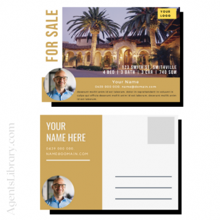 """For Sale / Sold / For Rent  """"Postcard"""" Template #19"""