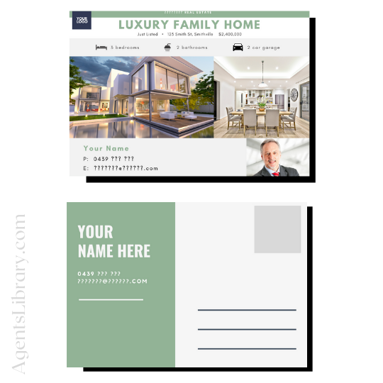 """For Sale / Sold / For Rent  """"Postcard"""" Template #2"""