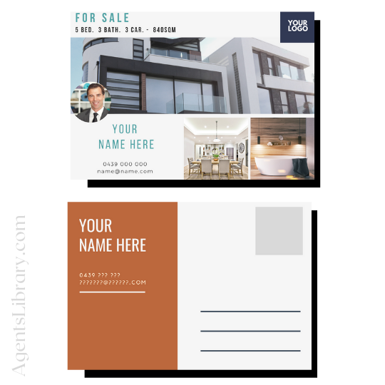 """For Sale / Sold / For Rent  """"Postcard"""" Template #3"""