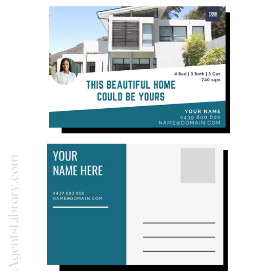 """For Sale / Sold / For Rent  """"Postcard"""" Template #5"""