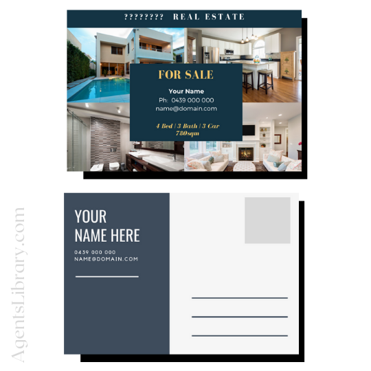 """For Sale / Sold / For Rent  """"Postcard"""" Template #8"""