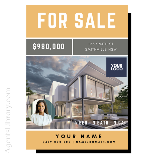 "For Sale / Sold / For Rent  ""A4 print & PDF"" Template #10"