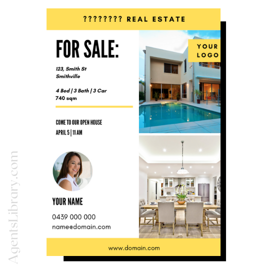 "For Sale / Sold / For Rent  ""A4 print & PDF"" Template #11"