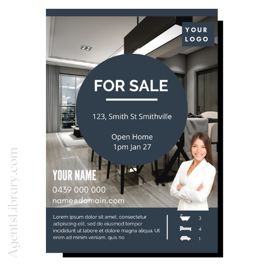 "For Sale / Sold / For Rent  ""A4 print & PDF"" Template #13"