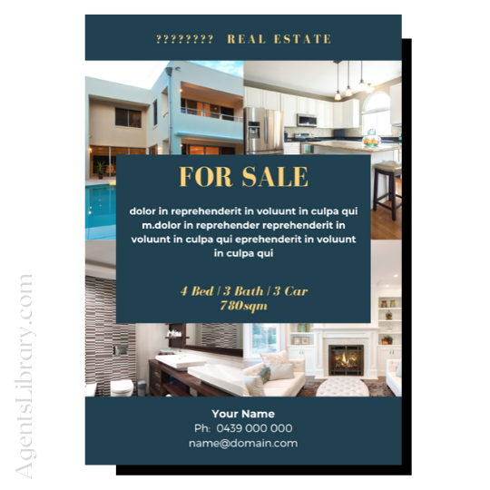 "For Sale / Sold / For Rent  ""A4 print & PDF"" Template #8"