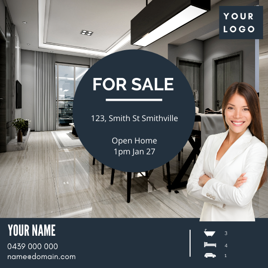 """For Sale / Sold / For Rent  """"Social Post"""" Template #13"""