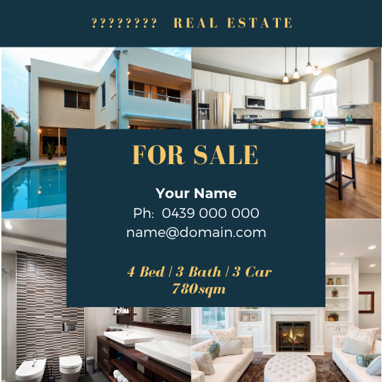 """For Sale / Sold / For Rent  """"Social Post"""" Template #8"""